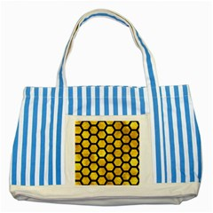 Hexagon2 Black Marble & Gold Paint Striped Blue Tote Bag by trendistuff