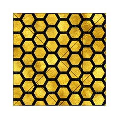 Hexagon2 Black Marble & Gold Paint Acrylic Tangram Puzzle (6  X 6 ) by trendistuff