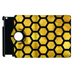 Hexagon2 Black Marble & Gold Paint Apple Ipad 2 Flip 360 Case by trendistuff