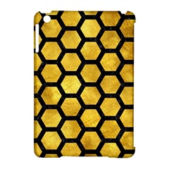 Hexagon2 Black Marble & Gold Paint Apple Ipad Mini Hardshell Case (compatible With Smart Cover) by trendistuff