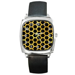 Hexagon2 Black Marble & Gold Paint (r) Square Metal Watch by trendistuff