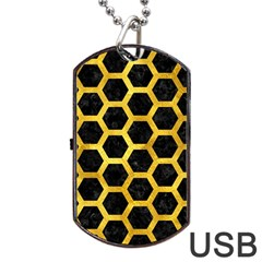 Hexagon2 Black Marble & Gold Paint (r) Dog Tag Usb Flash (one Side) by trendistuff