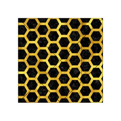 Hexagon2 Black Marble & Gold Paint (r) Acrylic Tangram Puzzle (4  X 4 ) by trendistuff