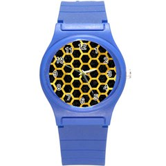 Hexagon2 Black Marble & Gold Paint (r) Round Plastic Sport Watch (s) by trendistuff