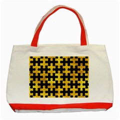 Puzzle1 Black Marble & Gold Paint Classic Tote Bag (red) by trendistuff