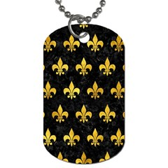 Royal1 Black Marble & Gold Paint Dog Tag (one Side) by trendistuff