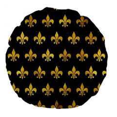 Royal1 Black Marble & Gold Paint Large 18  Premium Flano Round Cushions by trendistuff