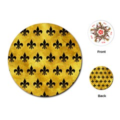 Royal1 Black Marble & Gold Paint (r) Playing Cards (round)