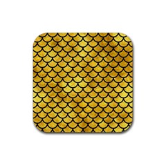 Scales1 Black Marble & Gold Paint Rubber Square Coaster (4 Pack)  by trendistuff