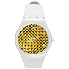 Scales1 Black Marble & Gold Paint Round Plastic Sport Watch (m) by trendistuff