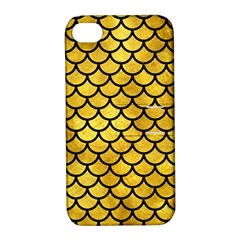 Scales1 Black Marble & Gold Paint Apple Iphone 4/4s Hardshell Case With Stand by trendistuff