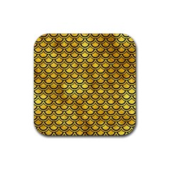Scales2 Black Marble & Gold Paint Rubber Square Coaster (4 Pack)  by trendistuff