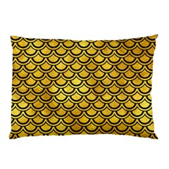 Scales2 Black Marble & Gold Paint Pillow Case by trendistuff