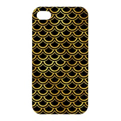 Scales2 Black Marble & Gold Paint (r) Apple Iphone 4/4s Premium Hardshell Case by trendistuff