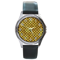 Scales3 Black Marble & Gold Paint Round Metal Watch by trendistuff