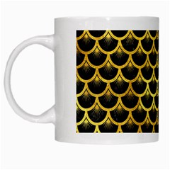 Scales3 Black Marble & Gold Paint (r) White Mugs by trendistuff