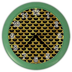 Scales3 Black Marble & Gold Paint (r) Color Wall Clocks