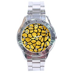 Skin1 Black Marble & Gold Paint (r) Stainless Steel Analogue Watch by trendistuff