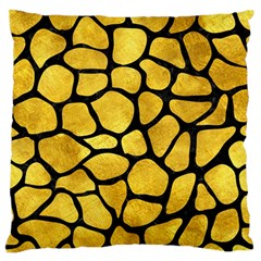 Skin1 Black Marble & Gold Paint (r) Large Flano Cushion Case (two Sides) by trendistuff