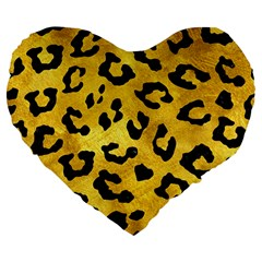 Skin5 Black Marble & Gold Paint (r) Large 19  Premium Flano Heart Shape Cushions by trendistuff