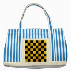 Square1 Black Marble & Gold Paint Striped Blue Tote Bag by trendistuff