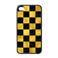 Square1 Black Marble & Gold Paint Apple Iphone 4 Case (black) by trendistuff