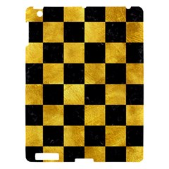Square1 Black Marble & Gold Paint Apple Ipad 3/4 Hardshell Case by trendistuff