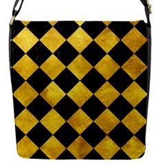 Square2 Black Marble & Gold Paint Flap Messenger Bag (s) by trendistuff