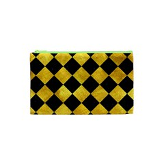 Square2 Black Marble & Gold Paint Cosmetic Bag (xs) by trendistuff