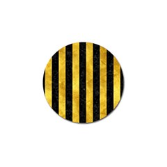 Stripes1 Black Marble & Gold Paint Golf Ball Marker by trendistuff