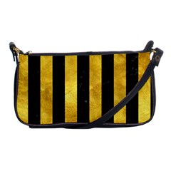 Stripes1 Black Marble & Gold Paint Shoulder Clutch Bags by trendistuff