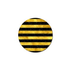 Stripes2 Black Marble & Gold Paint Golf Ball Marker by trendistuff
