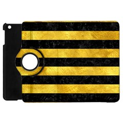 Stripes2 Black Marble & Gold Paint Apple Ipad Mini Flip 360 Case by trendistuff
