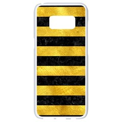 Stripes2 Black Marble & Gold Paint Samsung Galaxy S8 White Seamless Case by trendistuff
