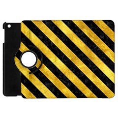 Stripes3 Black Marble & Gold Paint Apple Ipad Mini Flip 360 Case by trendistuff
