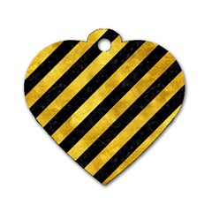 Stripes3 Black Marble & Gold Paint (r) Dog Tag Heart (one Side) by trendistuff