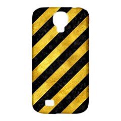 Stripes3 Black Marble & Gold Paint (r) Samsung Galaxy S4 Classic Hardshell Case (pc+silicone) by trendistuff