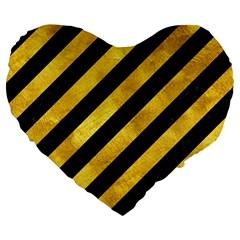 Stripes3 Black Marble & Gold Paint (r) Large 19  Premium Flano Heart Shape Cushions by trendistuff