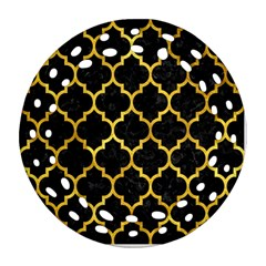 Tile1 Black Marble & Gold Paint (r) Ornament (round Filigree) by trendistuff