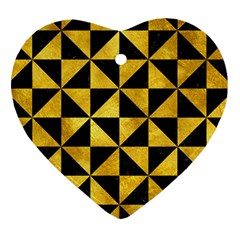 Triangle1 Black Marble & Gold Paint Heart Ornament (two Sides) by trendistuff