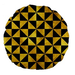 Triangle1 Black Marble & Gold Paint Large 18  Premium Flano Round Cushions by trendistuff