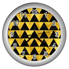 Triangle2 Black Marble & Gold Paint Wall Clocks (silver)  by trendistuff