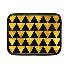 Triangle2 Black Marble & Gold Paint Netbook Case (small)  by trendistuff