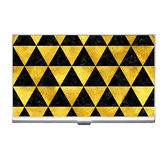 Triangle3 Black Marble & Gold Paint Business Card Holders by trendistuff