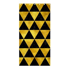 Triangle3 Black Marble & Gold Paint Shower Curtain 36  X 72  (stall)  by trendistuff