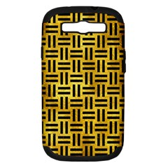 Woven1 Black Marble & Gold Paint Samsung Galaxy S Iii Hardshell Case (pc+silicone) by trendistuff