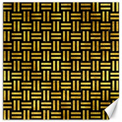 Woven1 Black Marble & Gold Paint (r) Canvas 20  X 20   by trendistuff