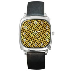 Woven2 Black Marble & Gold Paint Square Metal Watch by trendistuff