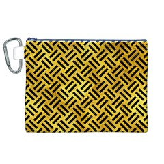 Woven2 Black Marble & Gold Paint Canvas Cosmetic Bag (xl) by trendistuff