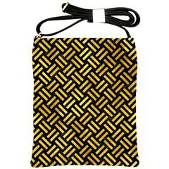 Woven2 Black Marble & Gold Paint (r) Shoulder Sling Bags by trendistuff